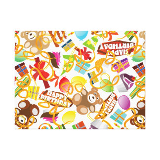Happy Birthday Pattern Illustration Canvas Print