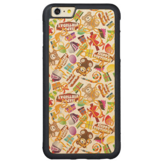 Happy Birthday Pattern Illustration Carved Maple iPhone 6 Plus Bumper Case