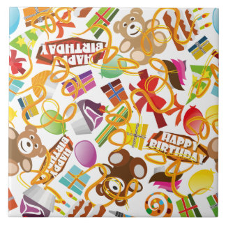 Happy Birthday Pattern Illustration Ceramic Tile