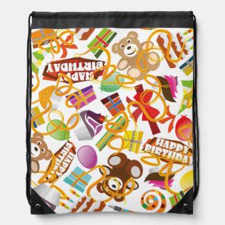 Happy Birthday Pattern Illustration Drawstring Bag