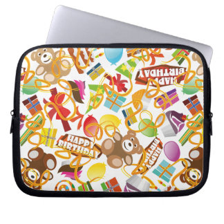 Happy Birthday Pattern Illustration Laptop Sleeve