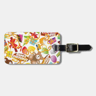 Happy Birthday Pattern Illustration Luggage Tag