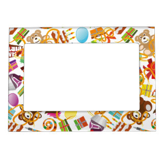 Happy Birthday Pattern Illustration Magnetic Frame
