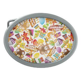Happy Birthday Pattern Illustration Oval Belt Buckle