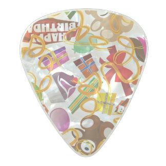 Happy Birthday Pattern Illustration Pearl Celluloid Guitar Pick