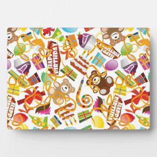 Happy Birthday Pattern Illustration Plaque