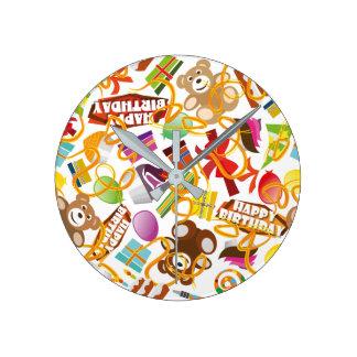 Happy Birthday Pattern Illustration Round Clock