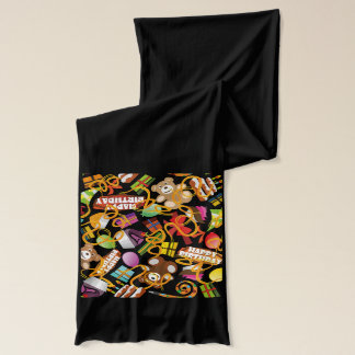 Happy Birthday Pattern Illustration Scarves