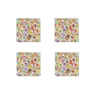 Happy Birthday Pattern Illustration Stone Magnet