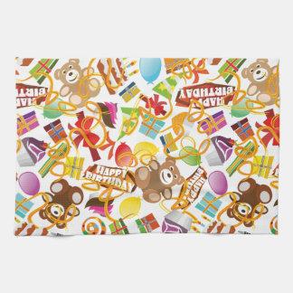 Happy Birthday Pattern Illustration Tea Towel