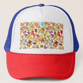 Happy Birthday Pattern Illustration Trucker Hat