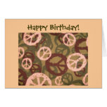 Happy Birthday!-Peace Signs/Camo Look Card