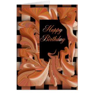 Happy Birthday Peach Swirl Card