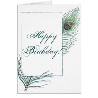 Happy Birthday Peacock Feather Inspirational Greeting Card