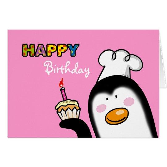 Happy Birthday penguin cupcake Card