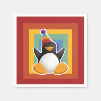 Happy Birthday Penguin Rainbow Square Napkin Paper Napkins