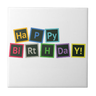 Happy Birthday Periodic Ceramic Tile