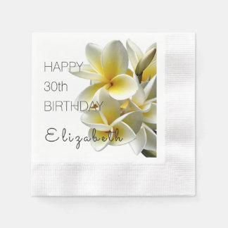Happy Birthday Personalized Big Plumeria Napkins Paper Napkins