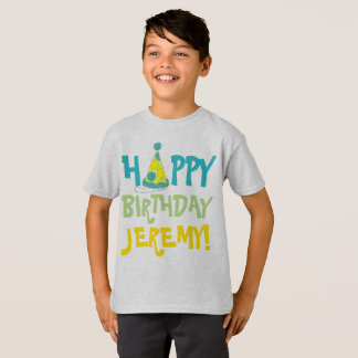 Happy Birthday Personalized Polka Dot Party Hat T-Shirt