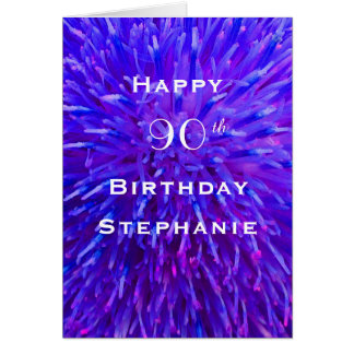 Happy Birthday, Personalized, Purple Abstract Card