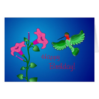 Happy Birthday Petunia with Hummingbird Card