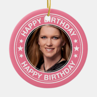 Happy Birthday picture Frame in Pink Round Ceramic Decoration