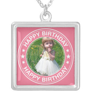 Happy Birthday picture Frame in Pink Silver Plated Necklace
