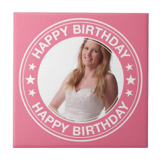 Happy Birthday picture Frame in Pink Small Square Tile