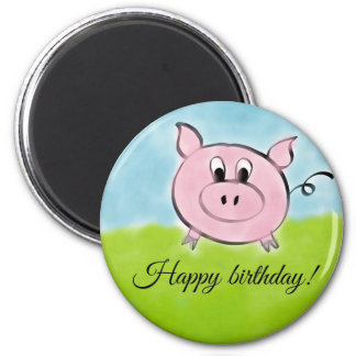 Happy birthday pig 6 cm round magnet