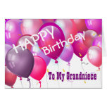 Happy Birthday Pink Balloons GRANDNIECE Greeting Card
