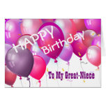 Happy Birthday Pink Balloons GREAT-NIECE Greeting Card