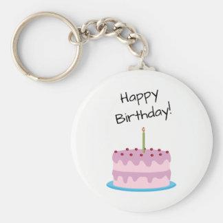 Happy Birthday Pink Cake Key Ring