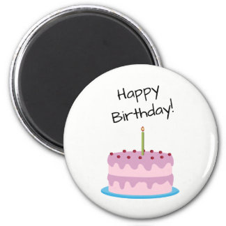 Happy Birthday Pink Cake Magnet