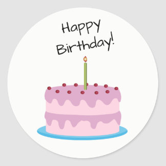 Happy Birthday Pink Cake Round Sticker