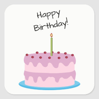 Happy Birthday Pink Cake Square Sticker