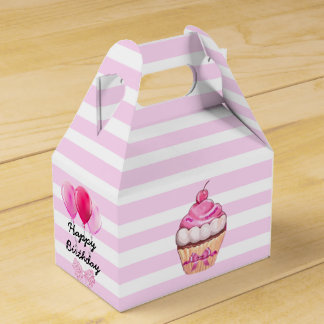 Happy Birthday Pink Cherry Cupcake with Bows Box