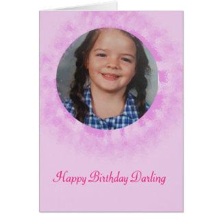 Happy Birthday Pink Custom Photo Card