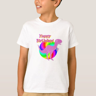 Happy Birthday Pink Dinosaur T-Rex T-Shirt