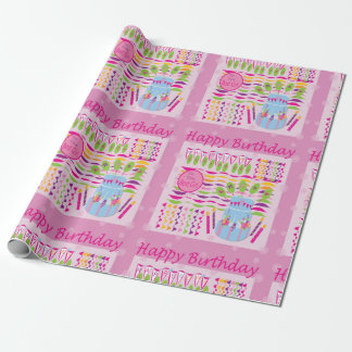 Happy birthday pink gift wrap