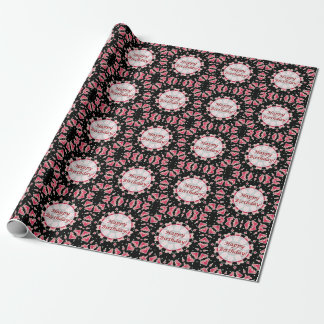 Happy Birthday Pink Heart Mandala Black Wrap Paper
