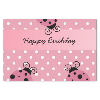 Happy Birthday Pink Ladybug Polka Dot Tissue Paper
