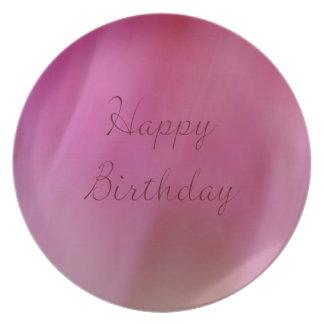 Happy Birthday Pink Melamine Plate