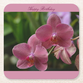 Happy Birthday Pink Orchid Coaster Square Paper Coaster
