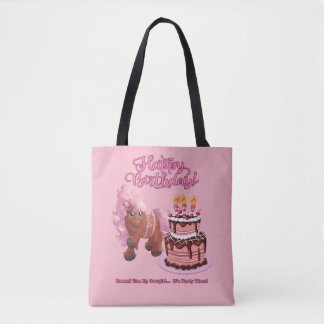 Happy Birthday Pink Pony Round 'Em Up Cowgirl Tote Bag
