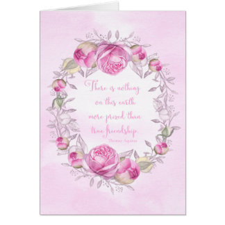 Happy Birthday Pink Roses Friendship Quote Card