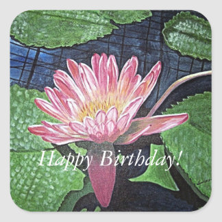 Happy Birthday Pink Water Lily Painting Sticker