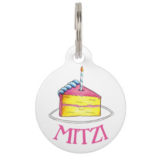 Happy Birthday Pink Yellow Layer Cake Slice Pet Tag
