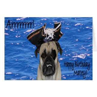 Happy Birthday Pirate Pug Greeting Cards