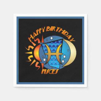 Happy Birthday Pisces Zodiac Birth Sign Napkins Disposable Napkin