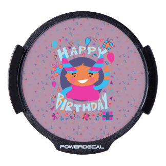 Happy Birthday Playful Monster LED Window Decal